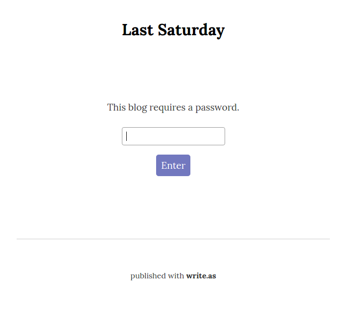 A password-protected blog.